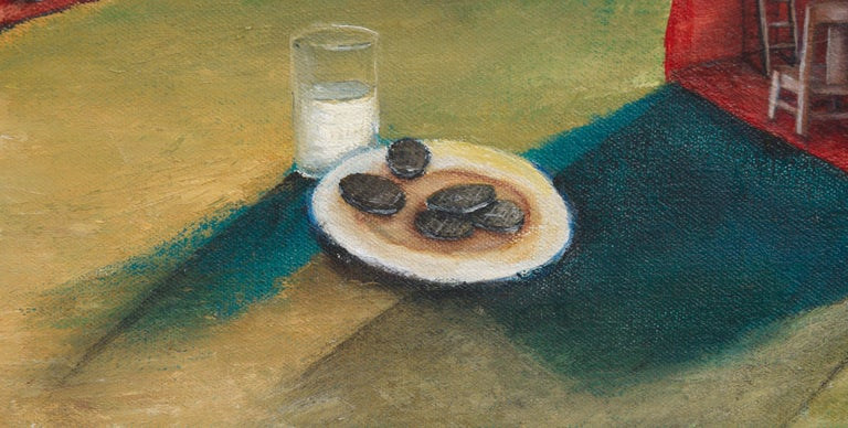 Surreal Figurative Landscape with Milk and Cookies For Sale 2
