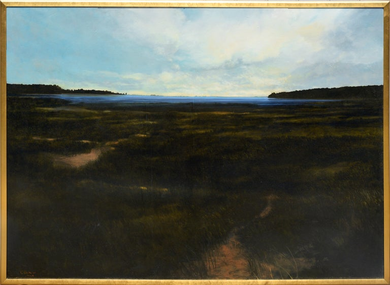 """Wonderful and dramatic large scale landscape of Jamestown, Virginia marsh by Christopher O'Neal Burch (American, 20th Century), 2004. Signed and dated lower-left corner """"C. Burch 2004"""" and on verso """"Christopher Burch Lynchburg, VA."""", titled"""