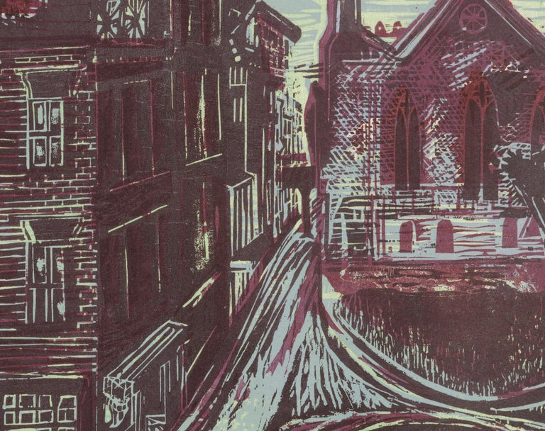 Bold woodblock print by Ruth Chaney (American, 1908-1973). Numbered, titled, signed, and dated along the bottom edge. Presetnted in a new cream mat. No frame. Image size: 16.5