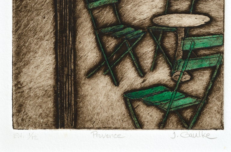 Etching depicting patio furniture by Judith Gaulke (American, b. 1946). Numbered (E.V. 1/12), titled (Provence), and signed (J. Gaulke) along the lower edge. Presented in a new cream mat. No frame. Image size: 14