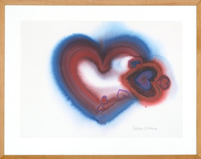 """Brightly colored composition of hearts by Dessie Wilcox (American, b. 1948). From her """"Heart Wall"""" series, Wilcox has been creating heart painting to raise awareness and finds for charities such as Crime Survivors Resource Center and St. Joseph's"""