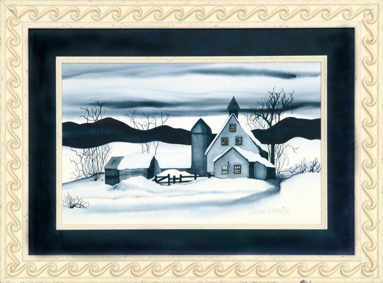 """High contrast landscape of a farm in winter by Dessie Wilcox (American, b. 1948). Signed and dated """"Dessie Wilcox '94"""" in the lower right corner. Presented in a carved wood frame with a liner and Plexiglas. Image size: approx. 16""""H x 24""""W  Dessie"""