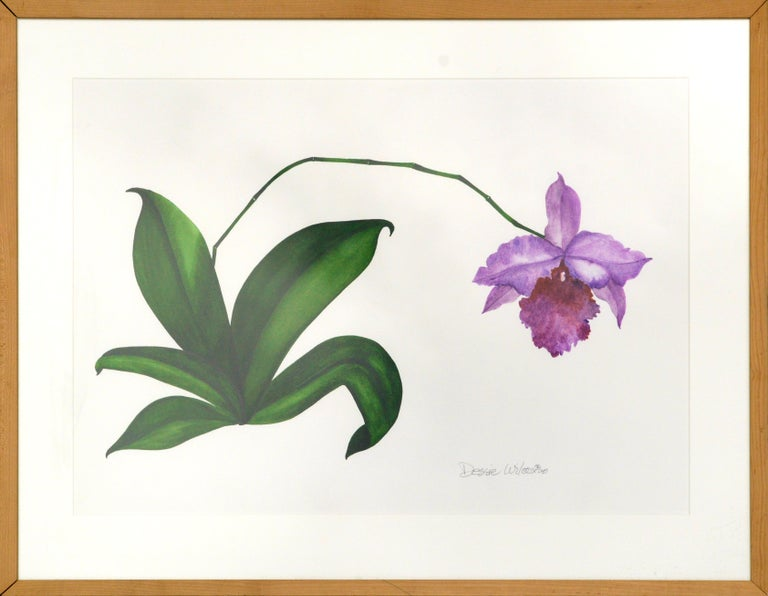 "Clean and bold watercolor of a purple orchid by Dessie Wilcox (American, b. 1948). Signed and dated (""Dessie Wilcox '00"") in the lower right corner. Presented in a wood frame with a white mat and Plexiglas. Image size: approx. 24""H x 32""W  Dessie"