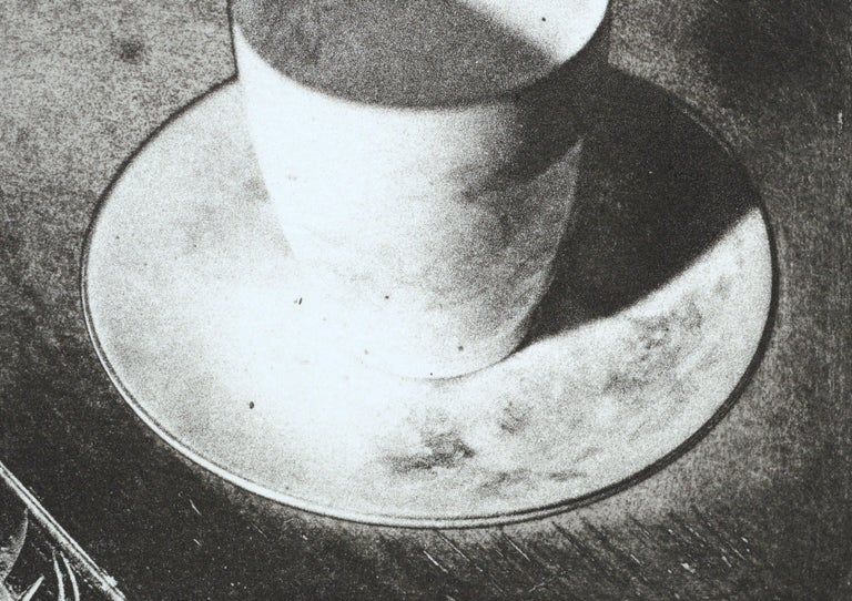 Cup & Saucer (Grandmother's Artifacts) - Photo Etching - Gray Still-Life Print by Claudette McElroy