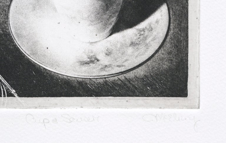 Photo etching of a cup and saucer by Claudette McElroy (American, b. 1943). Numbered (6/8), titled (Cup & Saucer), and signed (C. McElroy) along the edge of the etching.