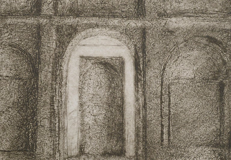 Etching of interior doorways by Susan Varjavand (American, 1941-2018). Numbered, titled, and signed (