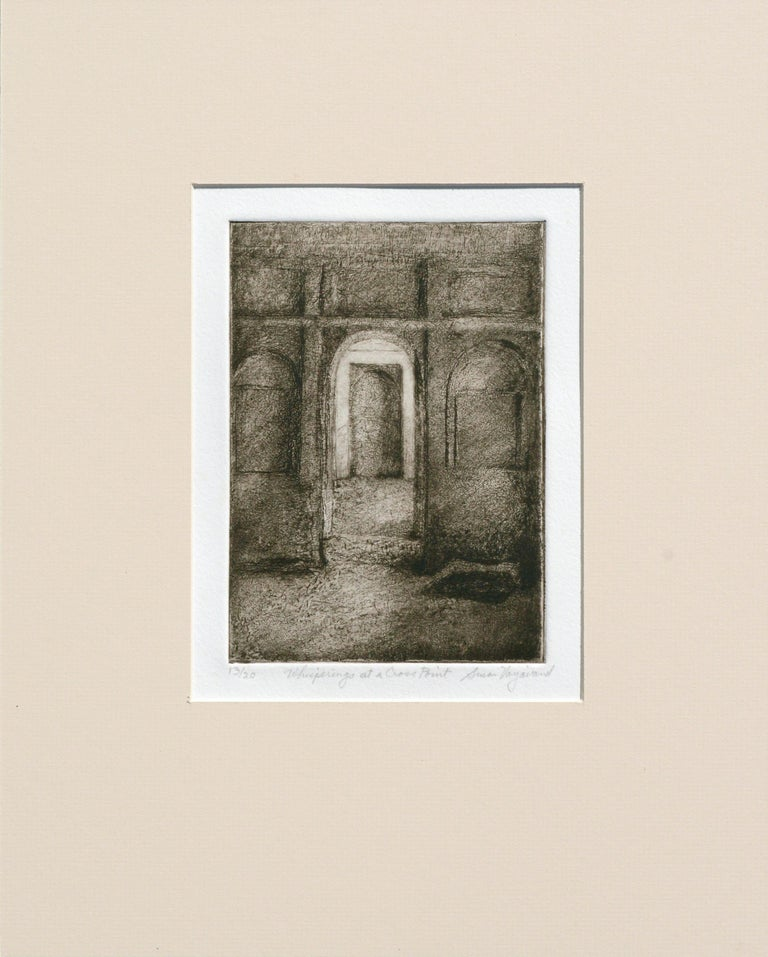"Susan Varjavand Interior Print - ""Whisperings at a Cross Point"" - Drypoint Etching"