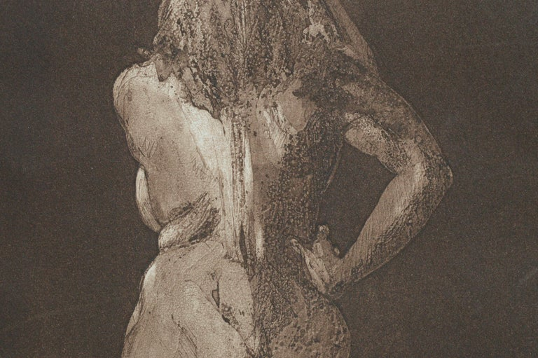 Nude from Behind - Drypoint Etching - Gray Figurative Print by Jim Smyth
