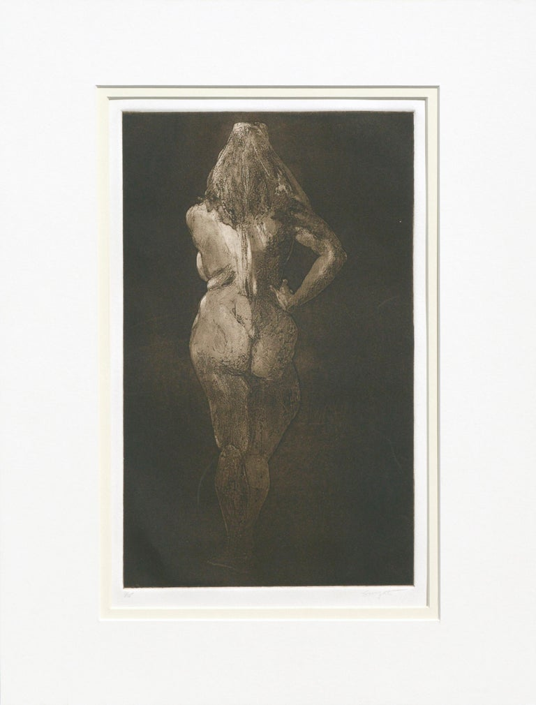 Jim Smyth Figurative Print - Nude from Behind - Drypoint Etching