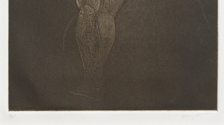 Nude figurative drypoint etching by Jim Smyth (American, b. 1938). Numbered and signed