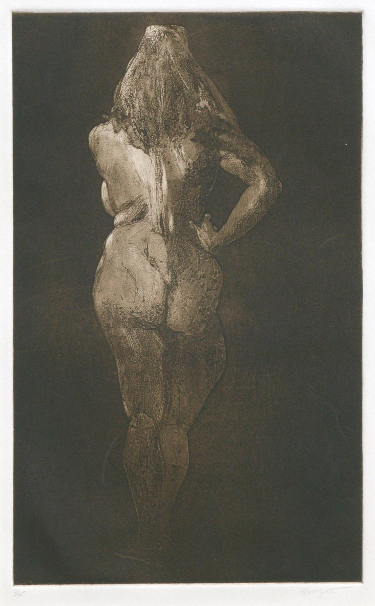 Nude from Behind - Drypoint Etching - Print by Jim Smyth