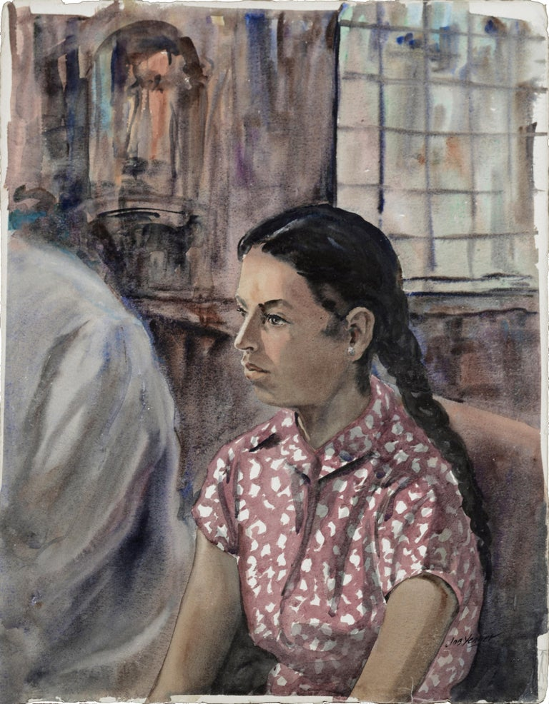 "Portrait of a Mexican girl in church by Joseph Yeager (early-mid 20th Century) on heavy bond watercolor paper with ragged edges. Signed ""Joe Yeager"" in the lower right corner. There is something (illegible) written along the lower left edge, and"