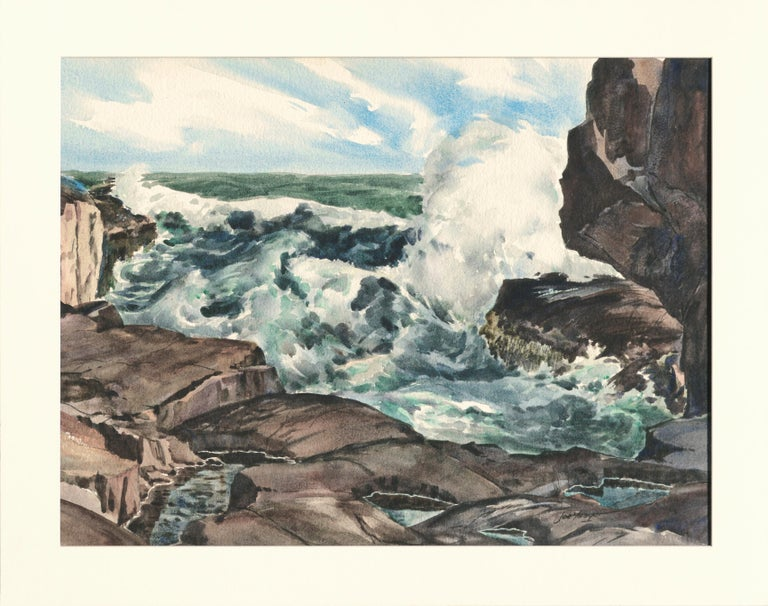 """Seascape of tide pools and crashing waves by Joseph Yeager (early-mid 2 0th Century) on heavy bond watercolor paper with ragged edges. Signed """"Joe Yeager"""" in the lower right corner. """"Bass Rocks Cape Ann Mass between Gloucester + Rockport"""" is written"""