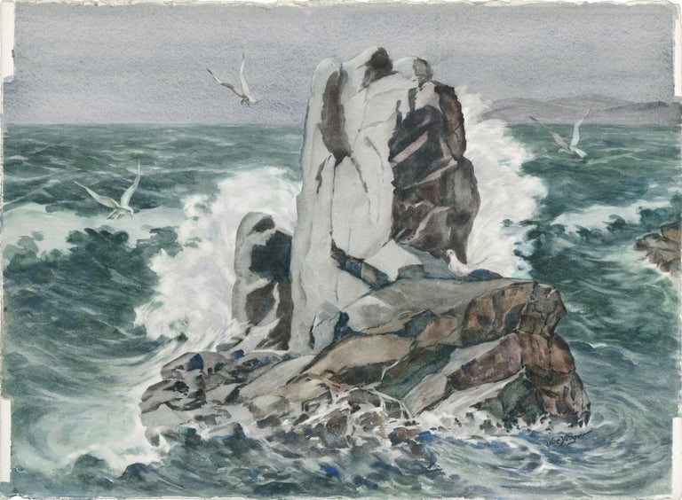 """Seascape of waves crashing against a large rock by Joseph Yeager (early-mid 20th Century) on heavy bond watercolor paper with ragged edges. Signed """"Joe Yeager"""" in the lower right corner. No frame.  Joseph """"Joe"""" Yeager (American, 20th Century) was"""