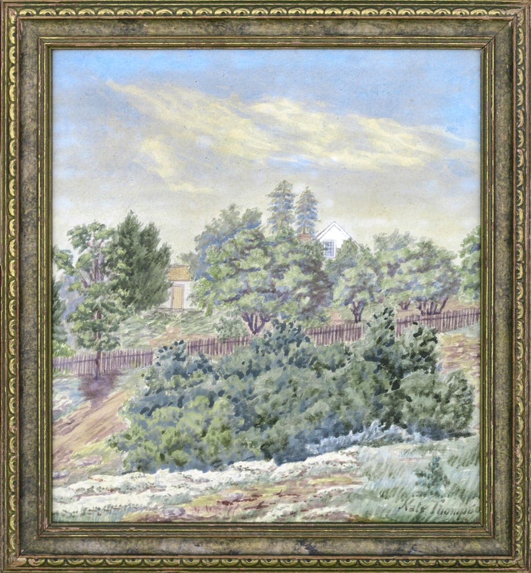"""Landscape of a house at 666 The Alameda in Berkeley, California Attributed to Kate Chandler Thompson (American, 1870-1948). Signed """"Kate Thompson"""" in the lower right corner. Dated """"June 2, 1882"""" in the lower right corner, below the rabbet. On verso"""