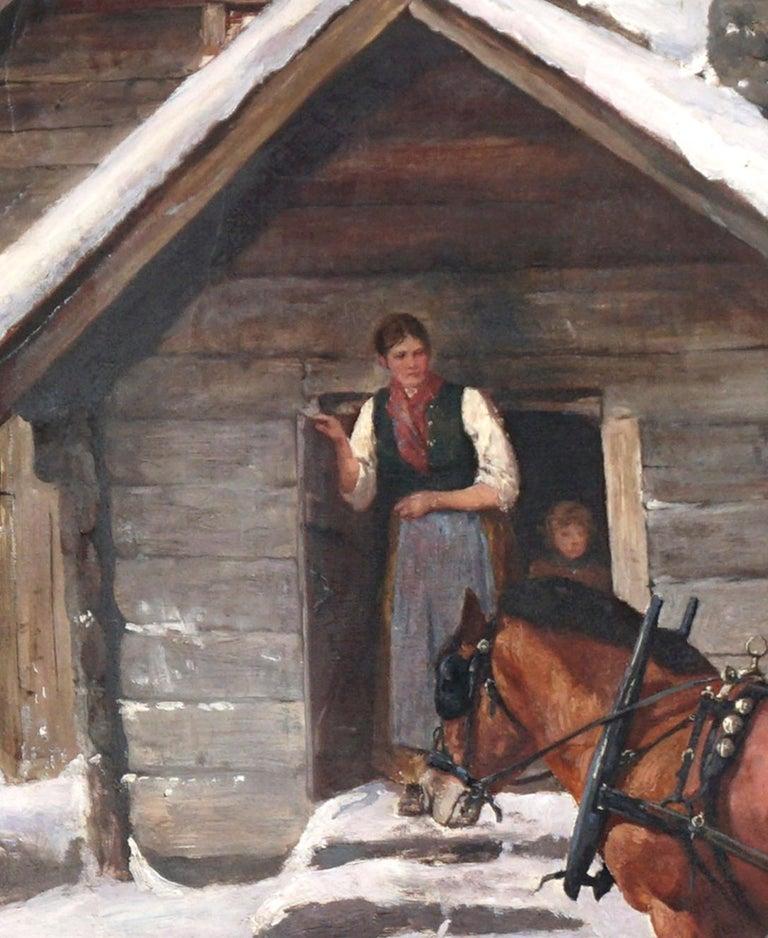 Winter's Visit Norwegian Scene By Axel Hjalmar Ender  - Brown Landscape Painting by Axel Hjalmar Ender