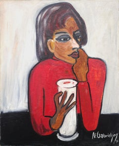 Mid Century Woman With Glass