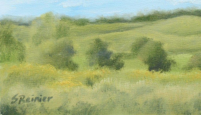 Serene landscape of hilly countryside by Susan Reinier (American, b. 1978). Signed