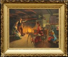 """""""The Family Hearth"""" - Turn of the Century Cozy Interior Figurative Scene"""