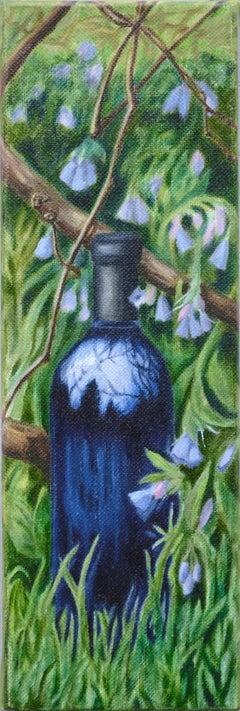 Wine Bottle Among the Bluebells - Still LIfe