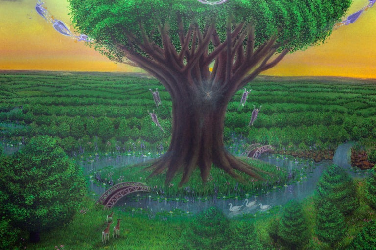 Tree of Life in the Garden - Visionary art by Tom Fath For Sale 2