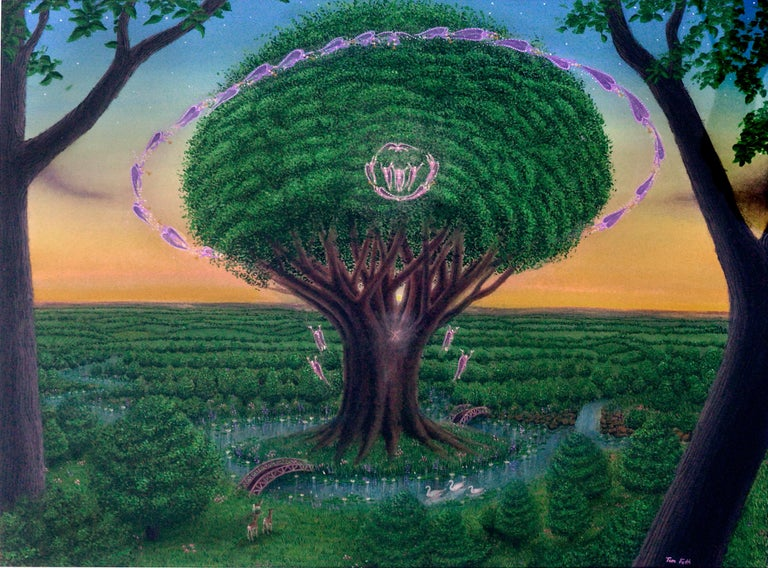 Tree of Life in the Garden - Visionary art by Tom Fath For Sale 1