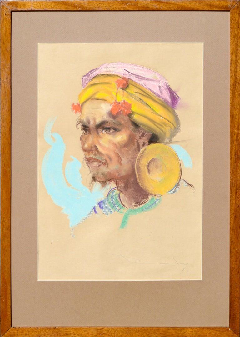 Antonio Dumlao Figurative Painting - Portrait of a Philippine Man with Gold Ear Ornament Antonio Gonzales Dumlao