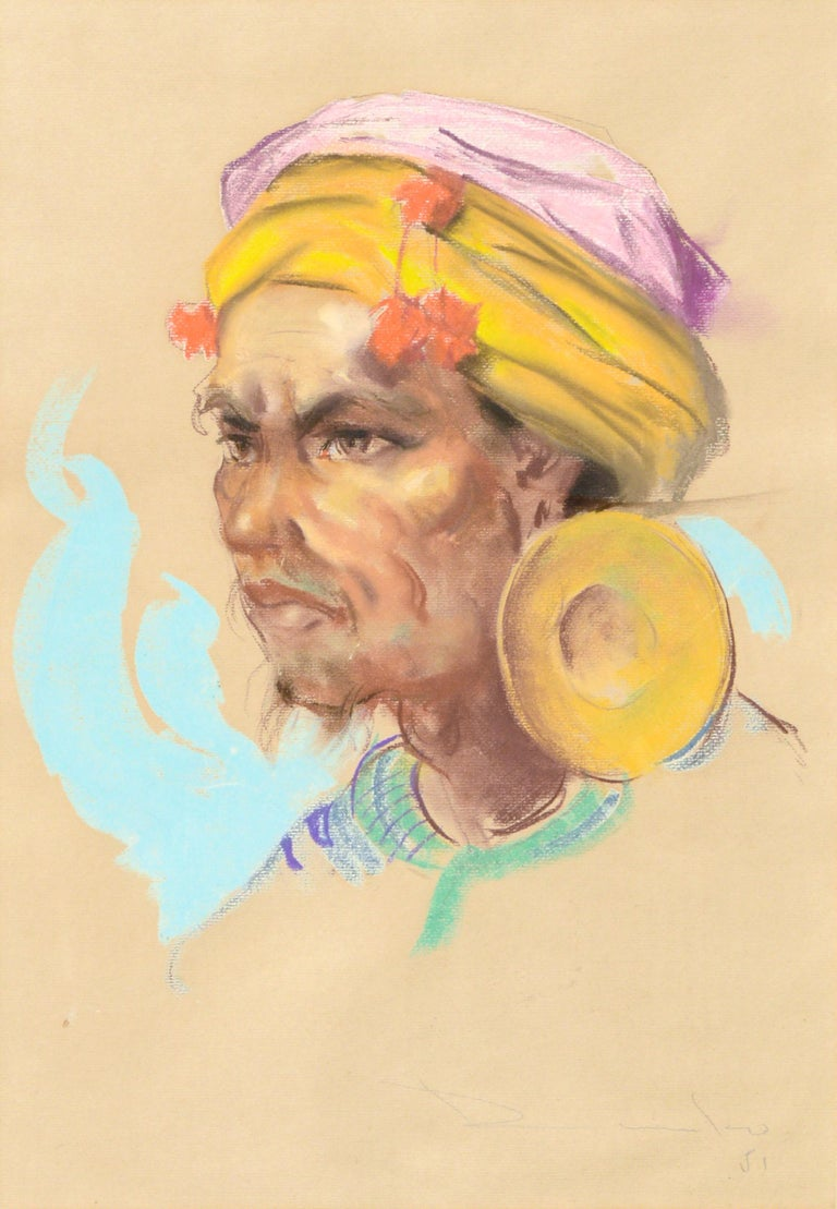 Portrait of a Philippine Man with Gold Ear Ornament Antonio Gonzales Dumlao - Painting by Antonio Dumlao