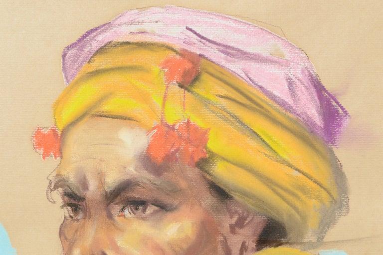 Portrait of a Philippine Man with Gold Ear Ornament Antonio Gonzales Dumlao - Realist Painting by Antonio Dumlao