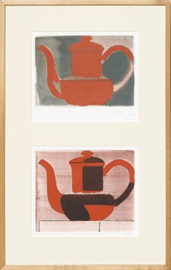 Two Red Teapots Still Life Modern by Don Weygandt