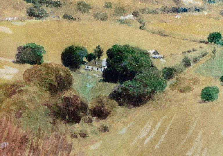 Watercolor of farmland in a valley by Alfred E. Schneider (American, 1929-2016). Signed and dated