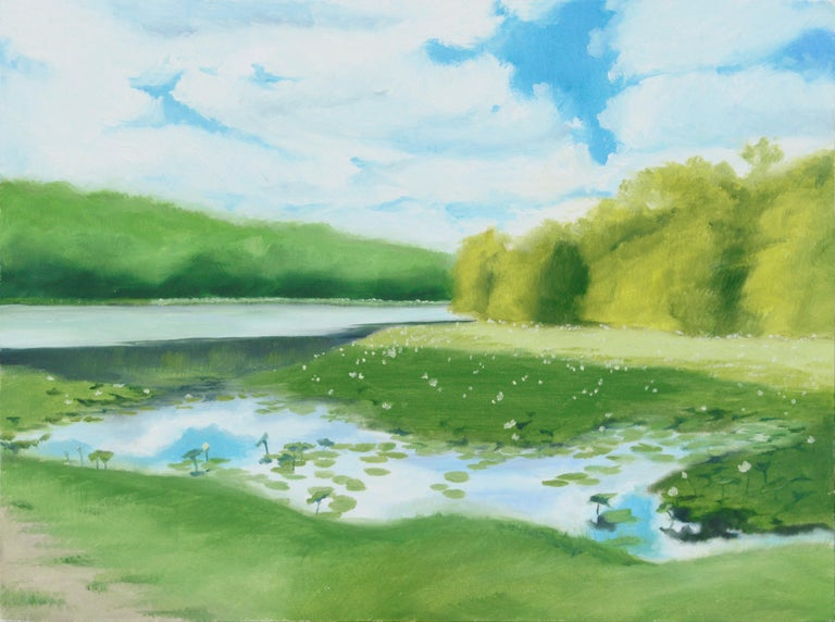 Susan Reinier Landscape Painting - Lily Pond at the Edge of the Forest - Landscape