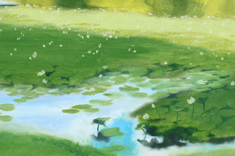 Landscape of a lily pond by Susan Reinier (American, b. 1978). This piece is unsigned, but was acquired with a collection of Reinier work. No frame.  Susan Reinier (American, b. 1978) is an artist specializing in realism through oil paint and