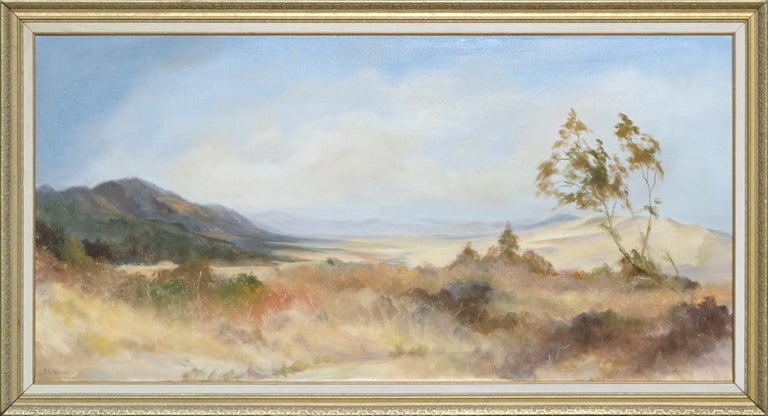 """Expansive landscape by Ken Lucas (American, 20th Century). Numbered and signed """"54 K Lucas"""" in the lower left corner. """"Ken Lucas"""" and """"#54 Jan '94"""" are written on verso. This piece was acquired from the Lucas estate. Presented in a giltwood frame"""