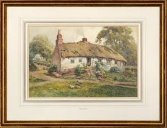 Country Cottage - Figure in the Door with Geese - Landscape