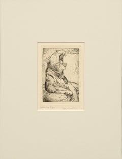 """""""Yawning Tiger"""" Drypoint Etching John Davidson 1927"""