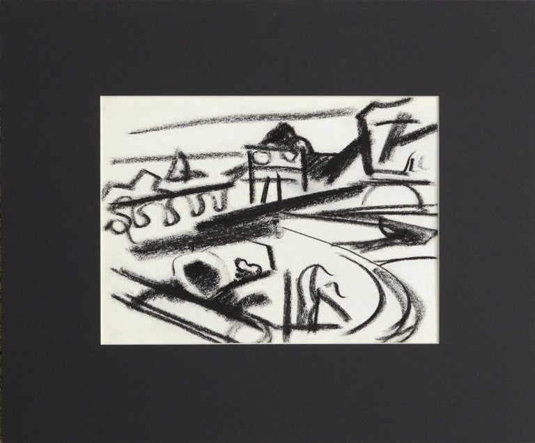 Erle Loran Abstract Drawing - Abstracted San Francisco Bay Landscape
