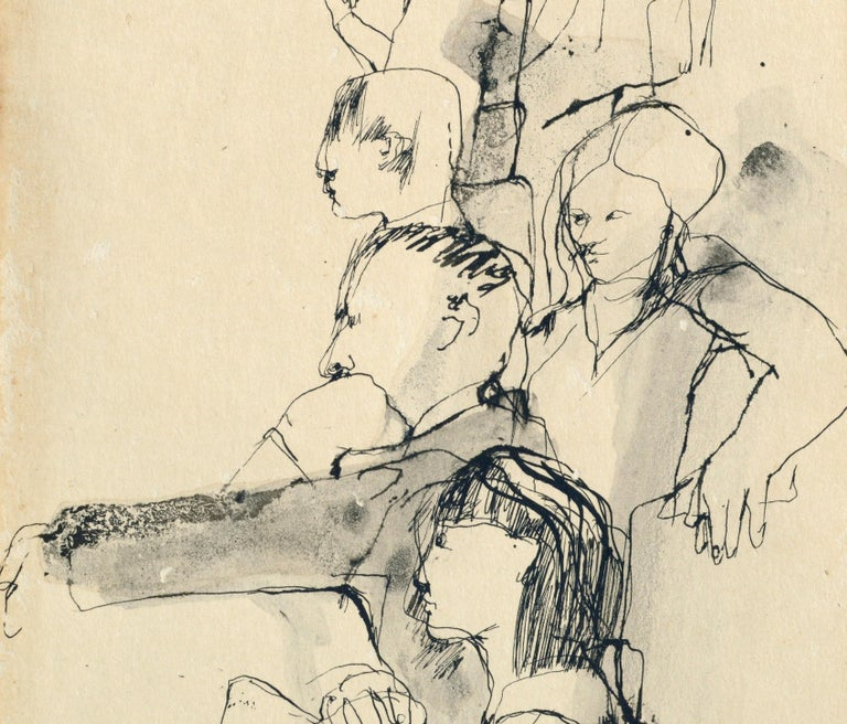 Montage of figure studies in a classroom by David Rosen (Canadian, 1912-2004). Unsigned, but was acquired with a collection of Rosen pieces. Presented in a new grey mat with foam core backing. Unframed. Image size: 10.25