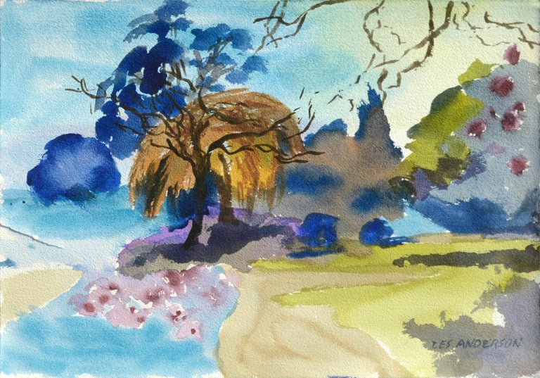 Les Anderson Landscape Art - Landscape with Weeping Willow
