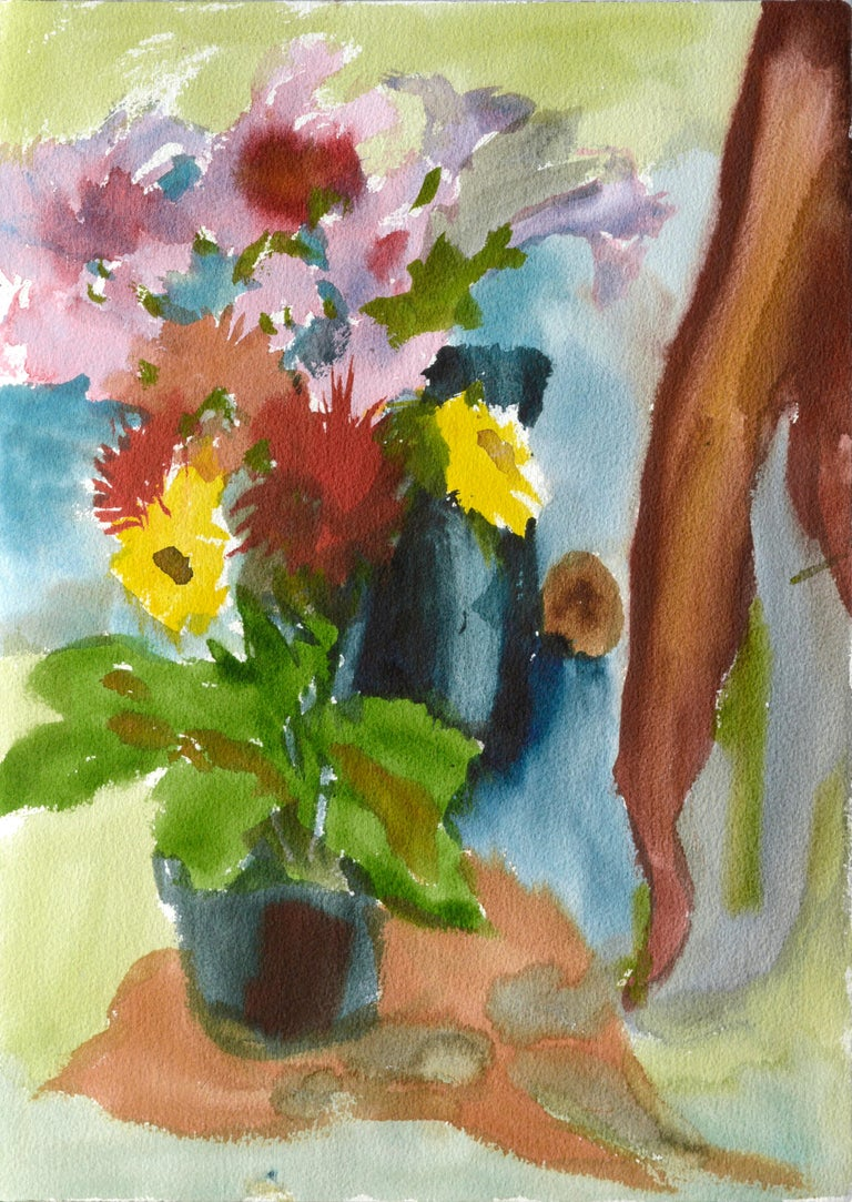 Les Anderson Abstract Drawing - Abstracted Still Life with Flowers