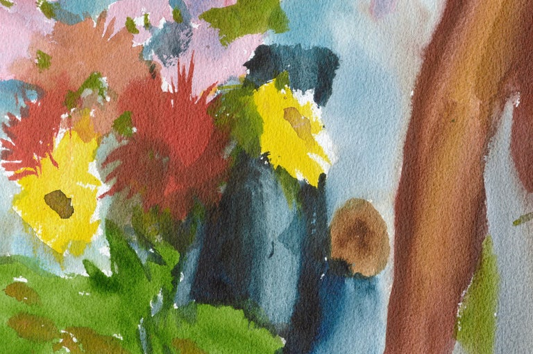 Abstracted Still Life with Flowers - American Impressionist Art by Les Anderson