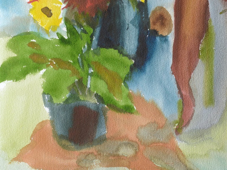 Abstracted Still Life with Flowers - Brown Abstract Drawing by Les Anderson