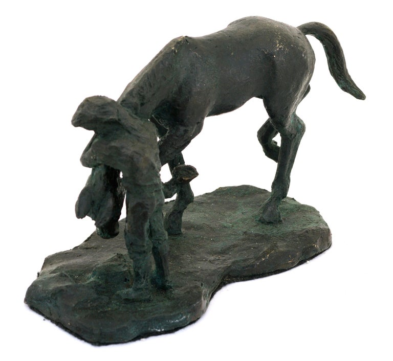 A Girl and Her Horse - Bronze Sculpture - Edition of Six - Gold Abstract Sculpture by Derek Wernher