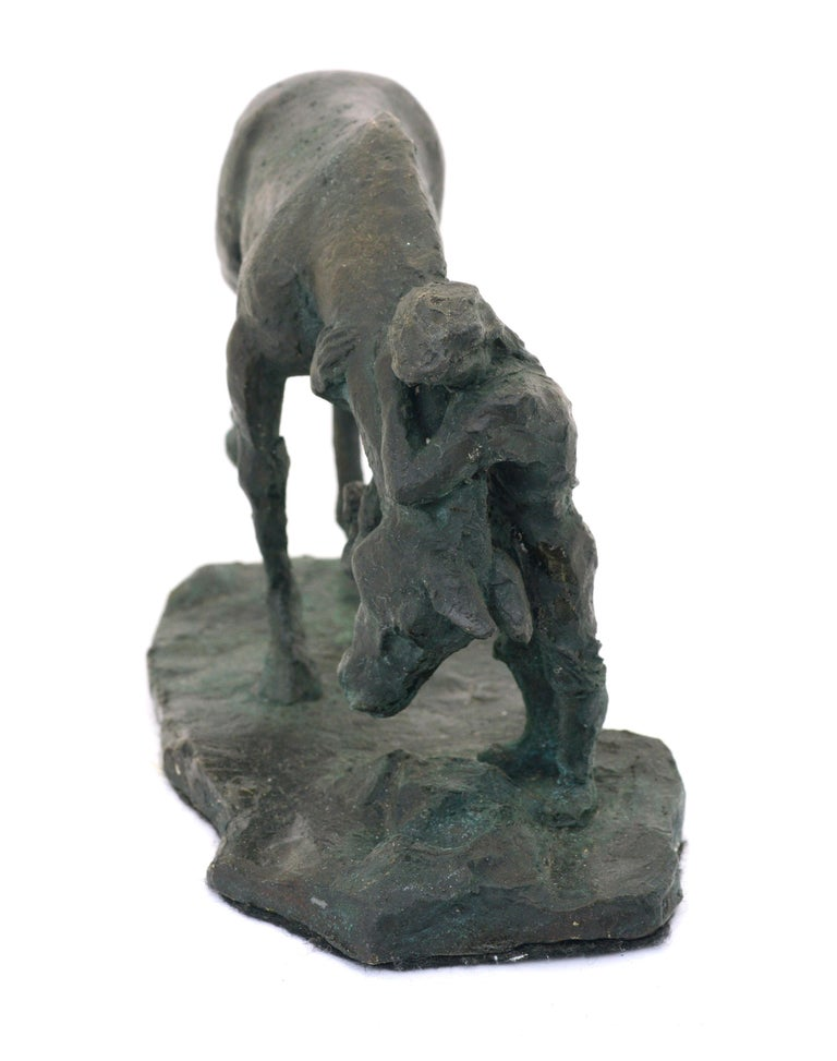 Sculpture of a horse and girl by Derek Wernher (American, 1938-2017). Signed  and dated