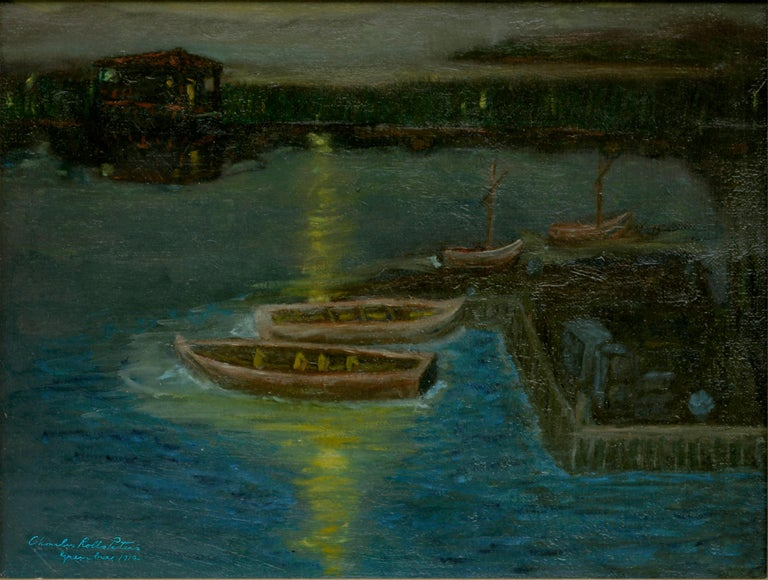 Houseboats in Moonlight at Greenbrae Lagoon  Rare Nocturnal Charles Rollo Peters - Tonalist Painting by Charles Rollo Peters