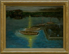 Houseboats in Moonlight at Greenbrae Lagoon  Rare Nocturnal Charles Rollo Peters