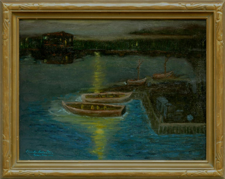 Houseboats in Moonlight at Greenbrae Lagoon  Rare Nocturnal Charles Rollo Peters - Painting by Charles Rollo Peters