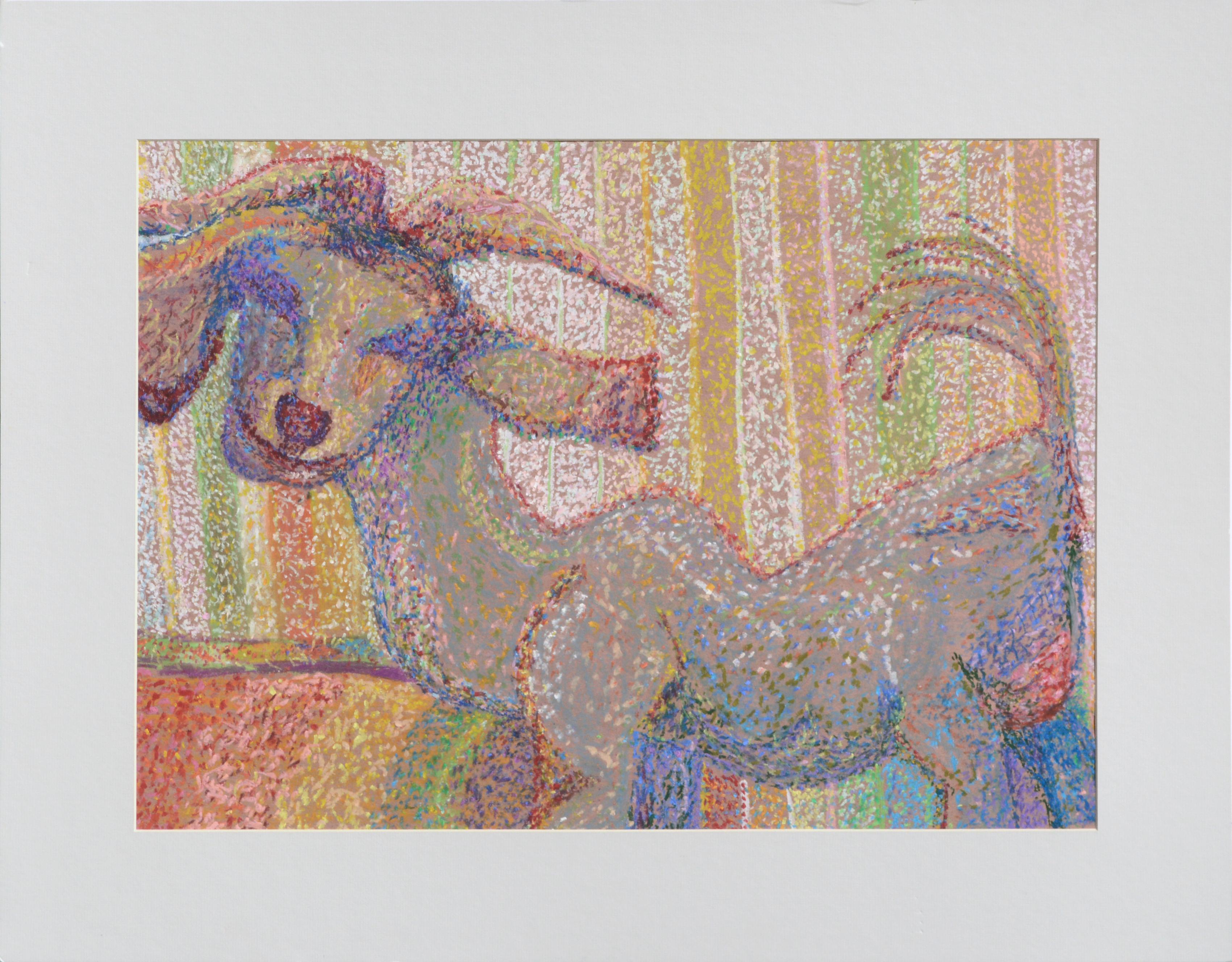 Colorful Pointilist Goat