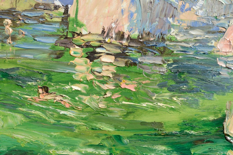 Rocky Outcropping and Bathers at the Swimming Hole - Landscape For Sale 1