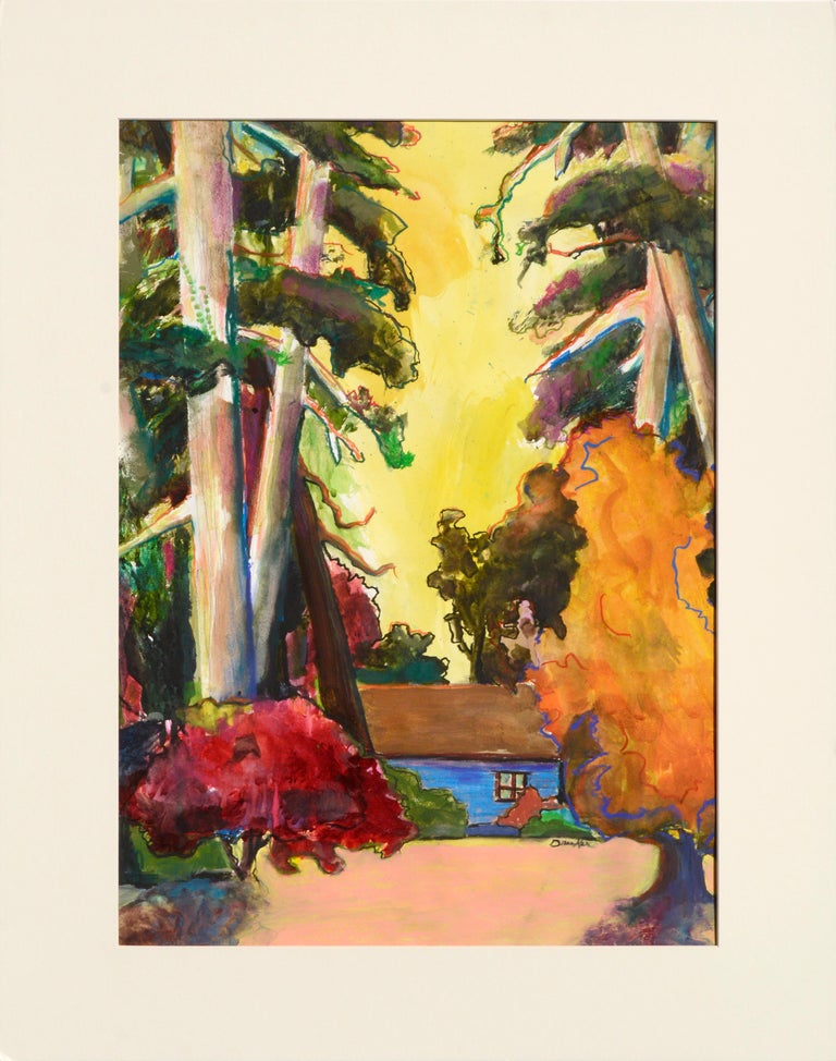 Karen Druker Landscape Art - The Blue Cabin - Vertical Landscape